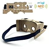 """Google Cardboard,JoyGeek VR Headset 3D Glasses Virtual Reality Glasses for 3.5-6""""Inch Cellphones iOS Apple iPhone and Android Smartphones with Headband,NFC and Magnet(DIY Version)"""