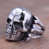 Mens Stainless Steel Silver Fashion Cool Gothic Punk Biker Finger Rings Jewelry#by pimchanok shop (8, style-1)