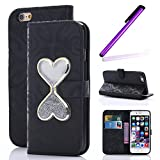 iPhone 6 Glitter Case,iPhone 6S Wallet Case,LEECO Flowing Quicksand PU Leather Wallet Kickstand Magnetic Closure Business Card Holder for Apple iPhone 6 / 6S 4.7 inch Hourglass Black