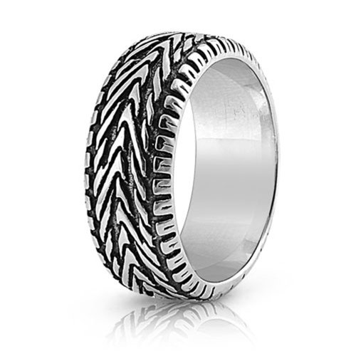 - Double Accent 9MM Stainless Steel High Polish Oxidized Tire Ring (Size 8 to 15), 9