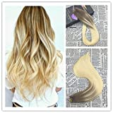 Moresoo 22 inch New Color 50g/20pcs Cheveux Bresilien Seamless Skin Weft Tape In Hair Extensions Balayage Color Medium Brown to Bleach Blonde 100% Straight Unprocessed Virgin Human Hair