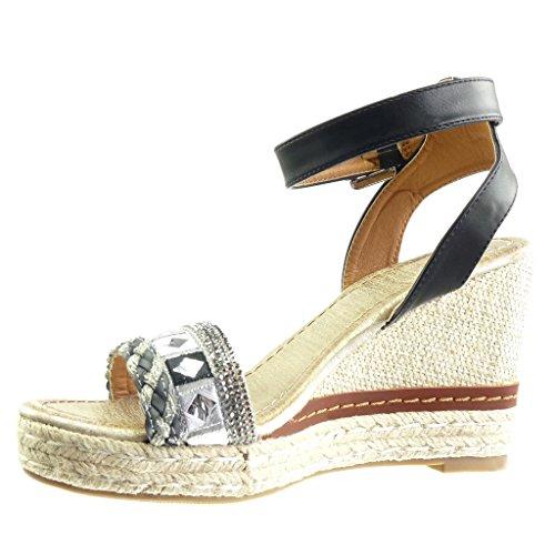 Angkorly - Scarpe da Moda sandali Espadrillas zeppe donna strass tanga  corda Tacco zeppa piattaforma 10 ...