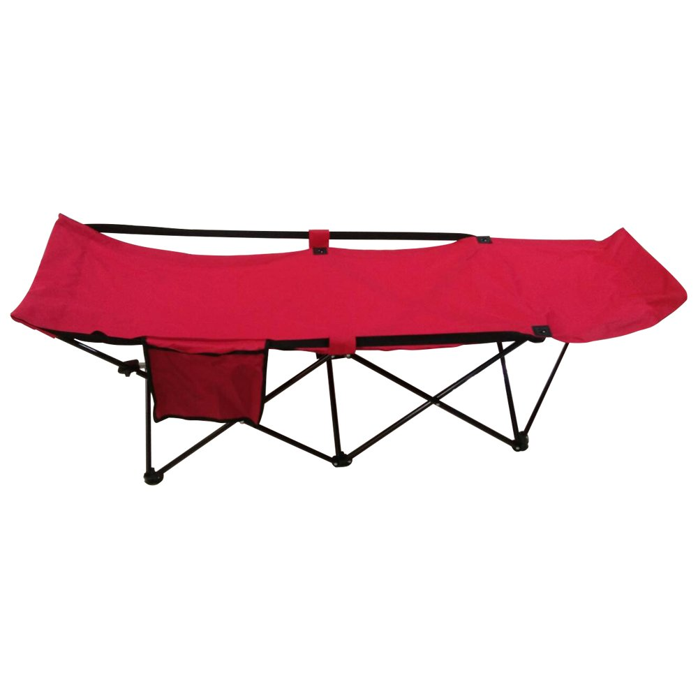 ALEKO FCB2R Portable Collapsible Camping Bed with Side Storage Bag Red