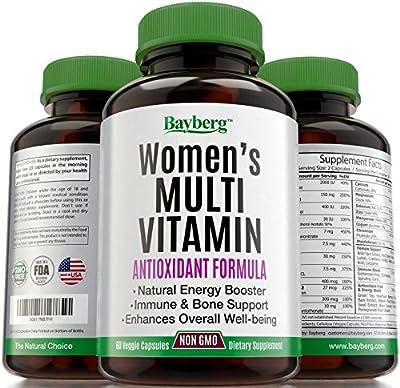 Women's Multivitamin. Antioxidant Energy Supplement with Minerals. Vitamin A C D E + Vitamins B1 B2 B3 B5 B6 B12 + Calcium, Zinc, Biotin and Folic Acid. Anti Aging, Immune & Bone Support