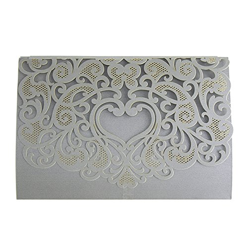 - Homeford Paper Rectangular Laser-Cut Pearlescent Scroll Swirl Invitations with Heart, 7-1/4-Inch, 8 Count (Silver)