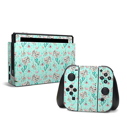 Merkittens with Pearls Aqua - Decal Sticker Wrap - Compatible with Nintendo Switch ()