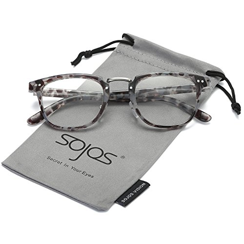 SojoS Square Reading Glasses Optical Frame Clear Lens Eyewear Eyeglasses for Men and Women SJ6005 With Grey Tortoise - Optical Mens Frames