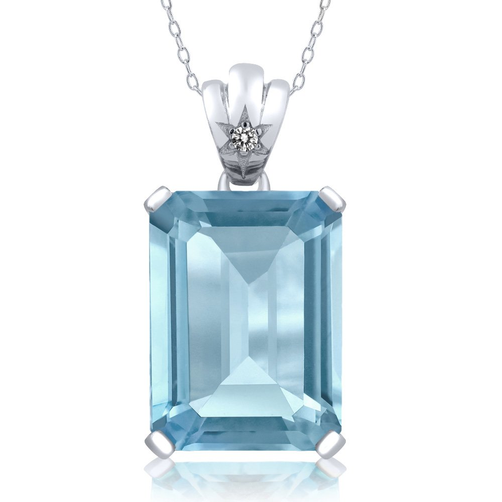 3d070dd094d922 Amazon.com: Gem Stone King Sterling Silver Sky Blue Topaz and White Diamond Pendant  Necklace 15.03 Cttw Emerald Cut With 18 Inch Silver Chain: Jewelry