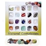 QGEM 20x Mini Gemstone Chakra Stones Healing Balancing Kit for Collectors, Mini Stones Crystal & Reiki Healers and Yoga Practioner