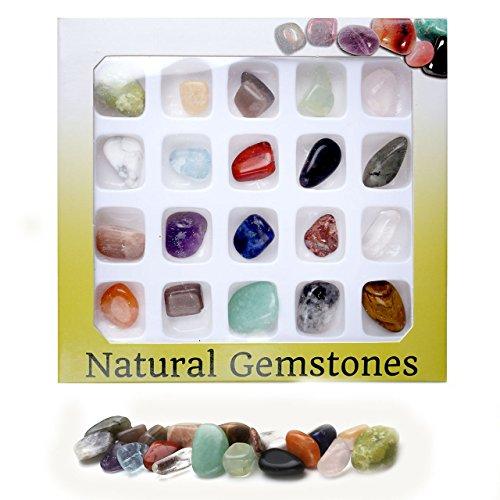 QGEM 20x Mini Gemstone Chakra Stones Healing Ba...