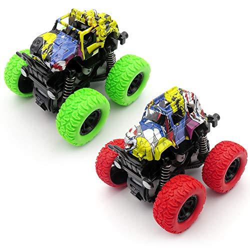 XHAIZ Monster Truck Toys Pull Back Cars Friction Powered Painted Duck Trucks Toys for Boys,Toddler Toys Best Gift for Kids- 2 Packs (Red +Green)