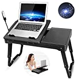 GPCT Laptop Table for Bed, Bed Table Trays for Eating and Laptops with Adjustable Laptop Stand, Multi-Functional Lap Desk with Internal Cooling Pad, LED Desk Lamp, 4 Port USB Hub, Mouse Pad