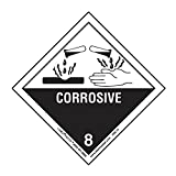 "Labelmaster HMSL130 Corrosive Worded Label, PVC-Free Film, Hazmat, 4"" x 4"" (Pack of 500)"