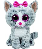 carletto TY 37190-Kiki, gato con ojos saltones (schis, Beanie Boos, 15cm, Gris
