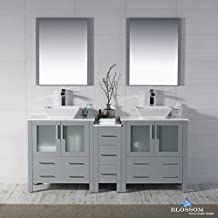 "BLOSSOM 001-72-15-D-1616V Sydney 72"" Double Vanity Set with Vessel Sinks and Mirrors Metal Gray"