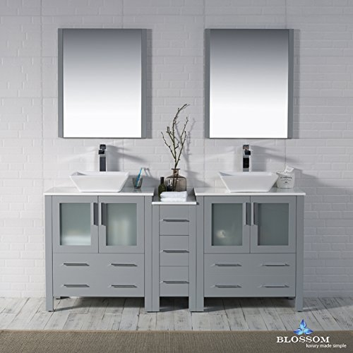 BLOSSOM 001-72-15-D-1616V Sydney 72'' Double Vanity Set with Vessel Sinks and Mirrors Metal Gray by Blossom