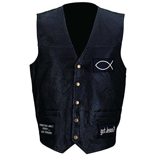 Giovanni Navarre Italian Stone Design Genuine Leather Vest With Christian Patches- M (Coat Genuine Italian Stone Leather)