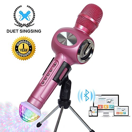 Karaoke Microphone Wireless Bluetooth Microphone for Kids Family Friends Duet Singing Portable Wireless Karaoke Recording KTV Party Gifts Light Holder Mic Machine for iPhone Android iPad PC (Rose Red) -
