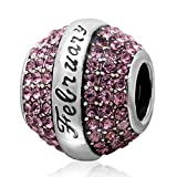 Feburary Light Purple Birthstone Crystal Charm 925 Sterling Silver Bead Fits European Brand Charms