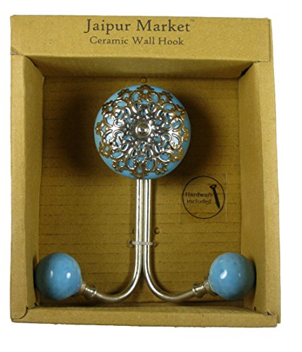 Jaipur Market Decorative Ceramic Wall Hook Robin's Egg Blue and Silver
