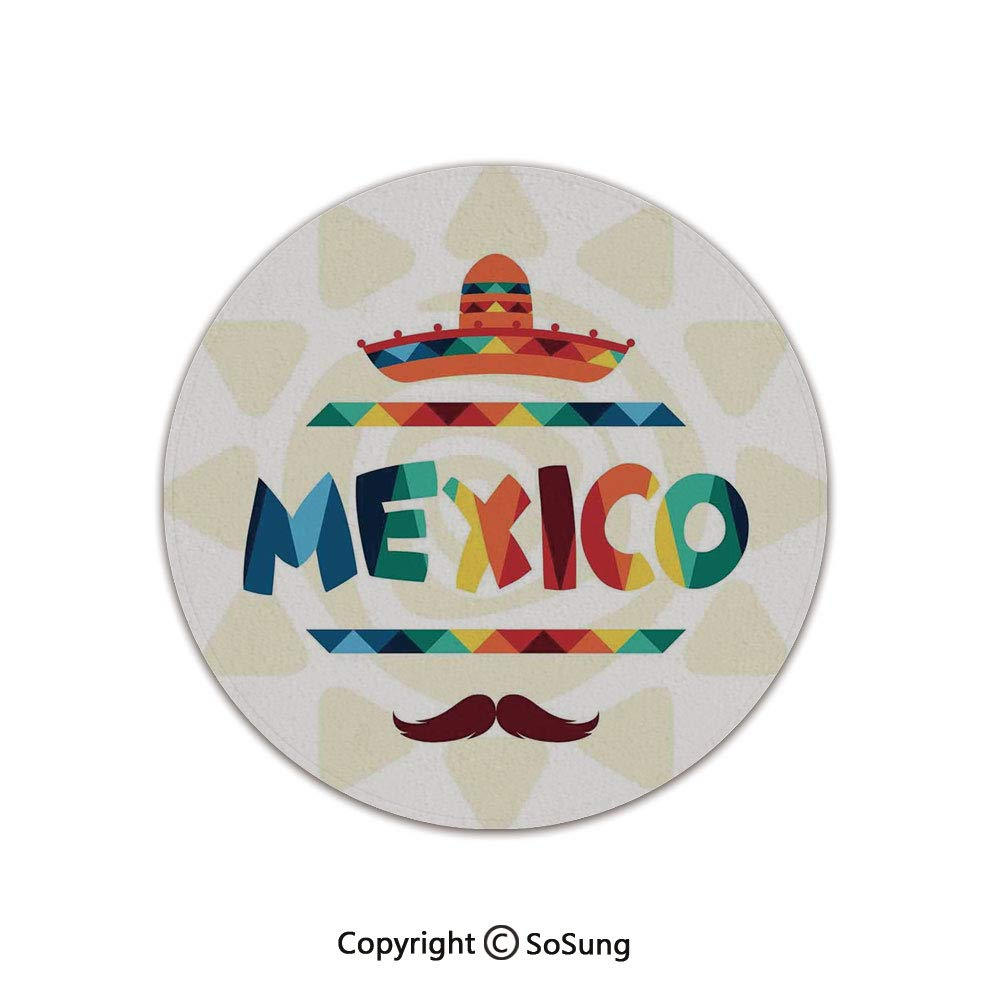 Mexican Decorations Round Area Rug,Mexico Traditional Aztec Motifs and Sombrero Straw Hat Moustache Graphic,for Living Room Bedroom Dining Room,Round 4'x 4',Multi by SoSung
