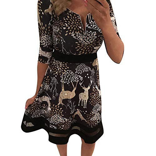 - HHei_K Womens Christmas Retro Floral Print Mesh Patchwork V Neck 3/4 Sleeve High Waist Evening Party Mini Dress