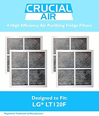 4 LG LT120F Air Purifying Fridge Filters, Part # ADQ73334008 & ADQ73214404, Designed & Engineered by Crucial Air