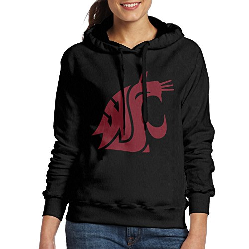 EVALY Women's Cool Washington State University Cougars Drawstring Hoodie Black