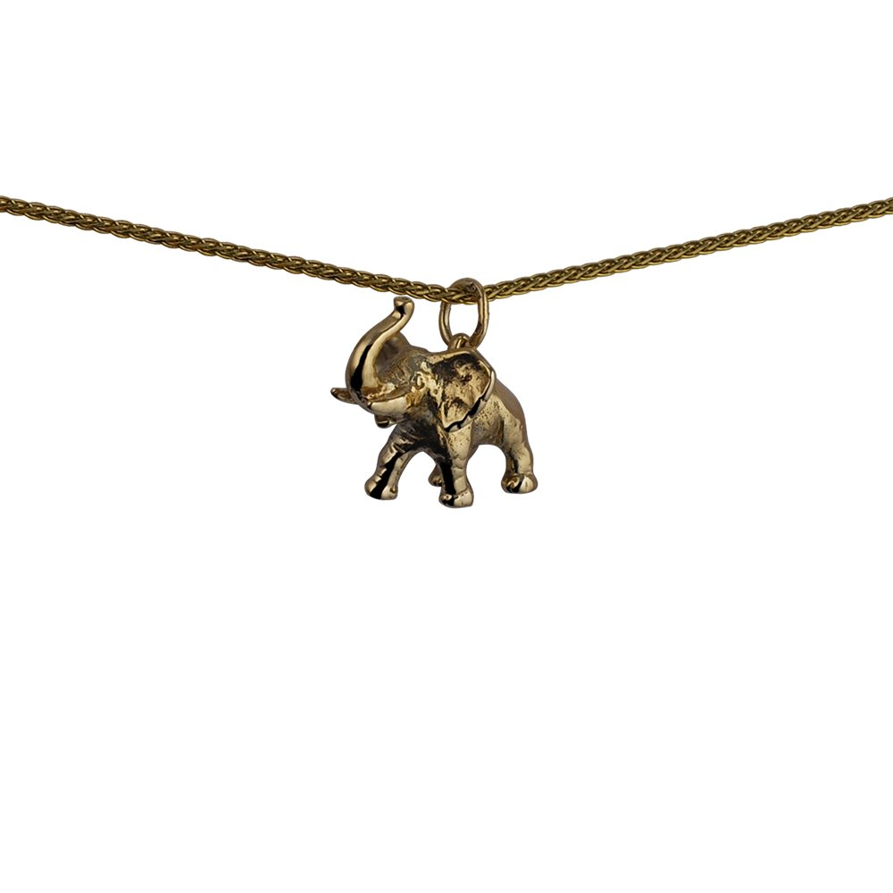 Oro amarillo 9 ct – 375/1000 – 20 x 19 mm Jumbo elefante colgante con cadena Spiga