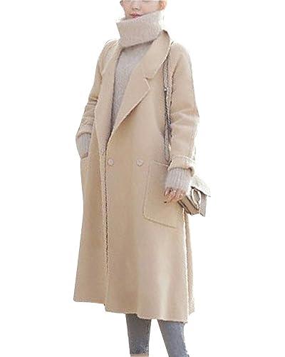 Mujer Abrigos y Chaquetas Color Sólido Outerwear Parka Manga Larga Trench Coat Albaricoque S