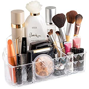 Clear Cosmetic Storage Organizer – Easily Organize Your Cosmetics, Jewelry and Hair Accessories. Looks Elegant Sitting on Your Vanity, Bathroom Counter or Dresser. Clear Design for Easy Visibility.