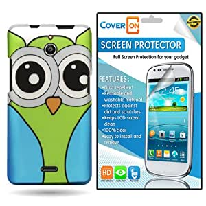 CoverON® Huawei Ascend Plus H881C Hard Plastic Slim Case Cover Bundle with Clear Anti-Glare LCD Screen Protector - Owl