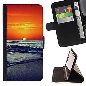 Momo Phone Case / Flip Funda de Cuero Case Cover - Puesta de sol Mar Beautiful Nature 14 - Samsung Galaxy A3
