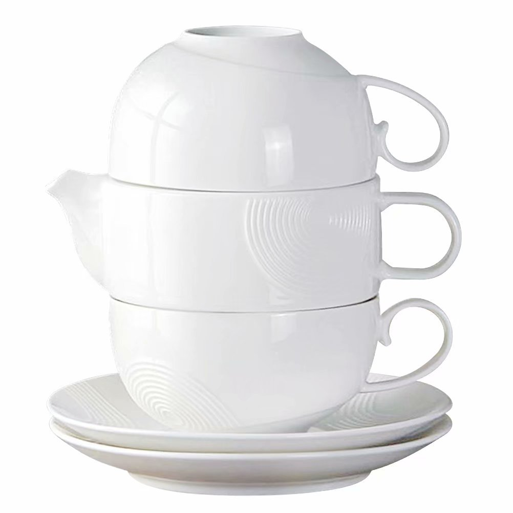 Tea Service Set for 2, 77L Elegant Design Ceramic Tea Set for 2, Includes Tea Pot (12.5 OZ) with Stainless Steel Tea Infuser, 2 Tea Cups (6.75 OZ) and 2 Saucers - Couples and Anniversary Gift Set