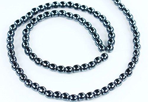 100 Hematite Czech Pressed Glass Druk Round Beads 4mm ()