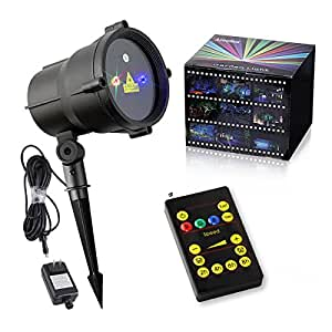 Almatess Garden Laser Lights Wireless Remote Indoor Outdoor Moving RGB Waterproof Landscape Star Projector with 19 Feet Long Cable Christmas Laser Lights for Holiday, Party, Wedding and Disco