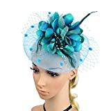 ACTLATI Charming Big Flower Headband Netting Mesh Hair Band Cocktail Hat Party Girls Women Fascinator, Lake Blue, One Size