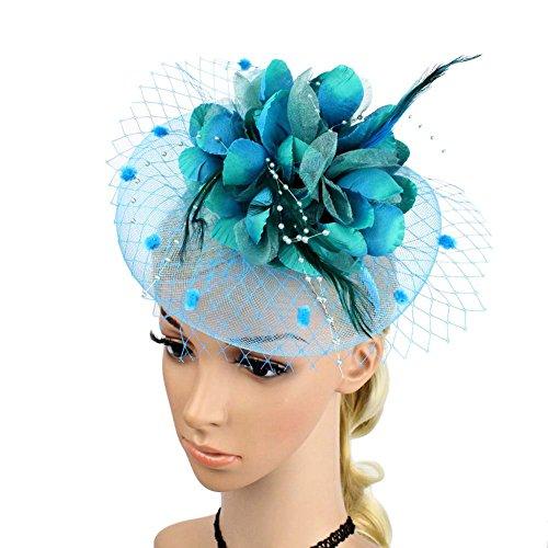 ACTLATI Charming Big Flower Headband Netting Mesh Hair Band Cocktail Hat Party Girls Women Fascinator, Lake Blue, One Size (Lake Girl)