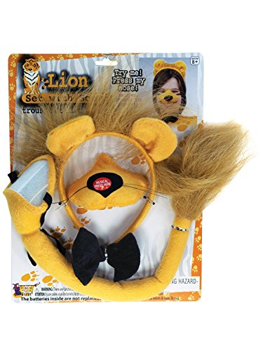 Lion Nose - Forum Novelties Animal Costume Set Lion Nose Tail with Sound Effects