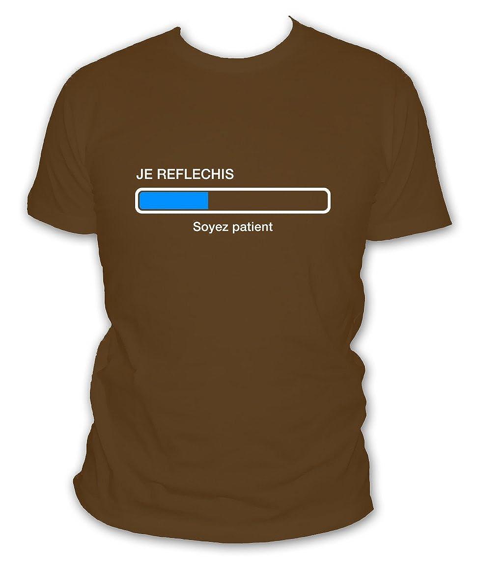 3e3cdefbe9c L abricot blanc T-Shirt Humour Geek Je réfléchis Soyez Patient - Manches  Courtes - Homme  Amazon.fr  Vêtements et accessoires