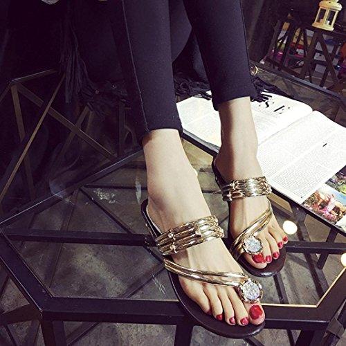 Transer 2016 1Pair Las mujeres forman las sandalias del verano del Rhinestone El talón plano de la correa de los zapatos de Flip Flop Shoes Flat Oro