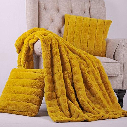 (BOON Rabbit Fur Throw with 2 Pillow Combo Set, 50