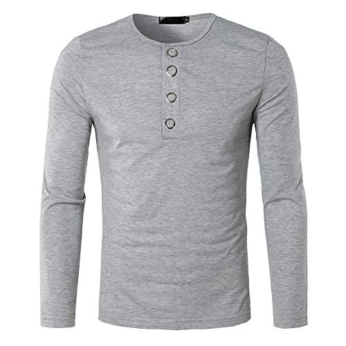 (GOVOW Button Blouse Long Sleeve Men Autumn Winter Casual Soft Fit Pullover Shirt Solid Top(S,ZZ-Gray))