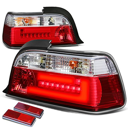 For BMW E36 3-Series 2-Door Pair of Clear & Red Lens 3D LED Bar Brake+Signal Tail Light -
