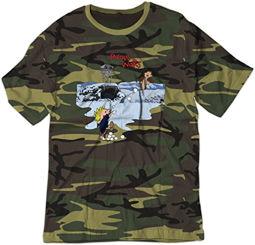 - BSW Men's Calvin and Hobbes Snow Wars Star Wars Shirt XS Camo