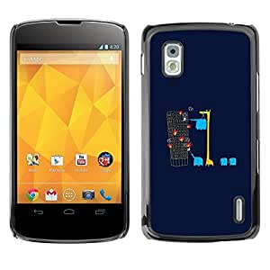 Estuche Cubierta Shell Smartphone estuche protector duro para el teléfono móvil Caso LG Google Nexus 4 E960 / CECELL Phone case / / Giraffe Animals Elephant Minimalist /