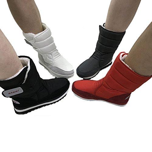 URUOI Women Snow Boots Anti-Slip soles Waterproof upper 4 Colors White apsuF