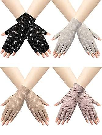 Trounistro 4 Pairs Women Sunblock Fingerless Gloves Non Slip UV Sunscreen Protection Gloves Driving Gloves for Women - Multicoloured - One Size