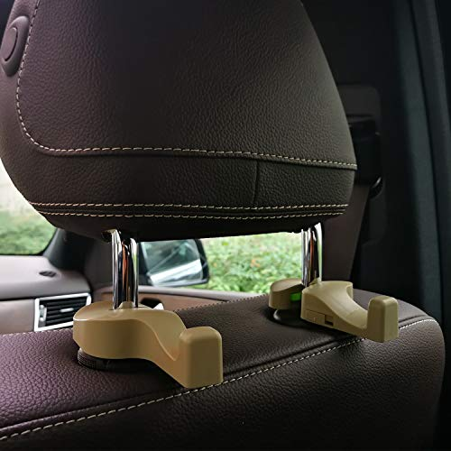 Car Headrest Hooks Universal Vehicle SUV Organizer Car Back Seat Headrest Hanger Holder Hook for Bag Purse Cloth Grocery Beige Set of 2 A7838F