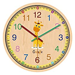 IPOUF 12 Kid Wall Clock Cute Giraffe Decorative Clocks for Children Living Room/Bedroom/Office/Kitchen/School/Classroom